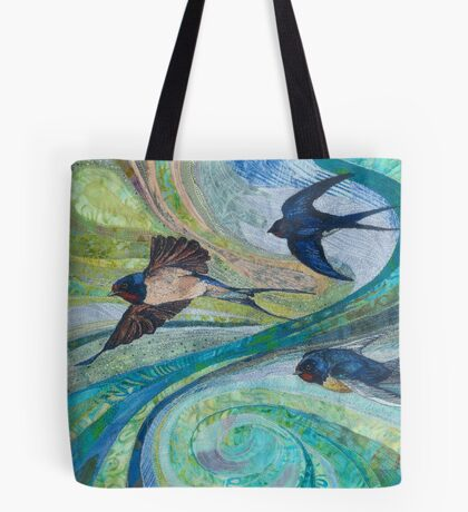 Aerial Acrobats - Swallows Embroidery - Textile Art Tote Bag
