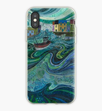 Tossed About - Fishing Boat and Waves Embroidery - Textile Art iPhone Case