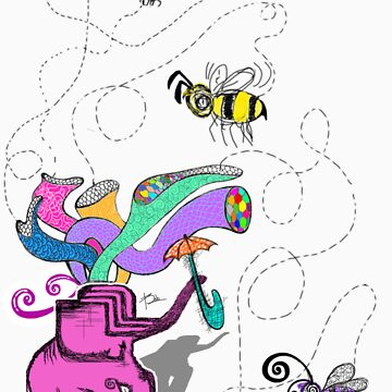 pink elephant and purple bee by gerabop
