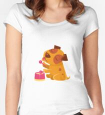 Puppy Playing Drums And Singing Women's Fitted Scoop T-Shirt