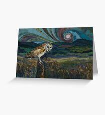 Sitting Pretty - Barn Owl Embroidery Textile Art Greeting Card