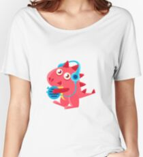 Red Dragon In Headphones Illustration Women's Relaxed Fit T-Shirt