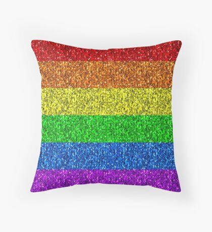 LGBT flag vibrant rainbow glitter sparkles Throw Pillow