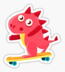 Red Dragon Skatebording Illustration Sticker
