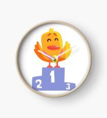 Duckling Champion Cute Character Sticker Clock