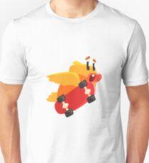 Duckling Skateboarding Cute Character Sticker T-Shirt
