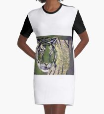 White Tiger  Graphic T-Shirt Dress