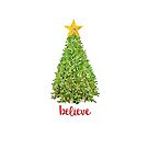 Believe Christmas Tree with Gold Star by Ann Drake