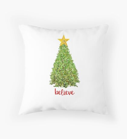 Believe Christmas Tree with Gold Star Throw Pillow