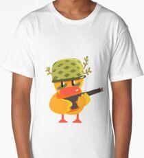 Duckling Soldier Cute Character Sticker Long T-Shirt