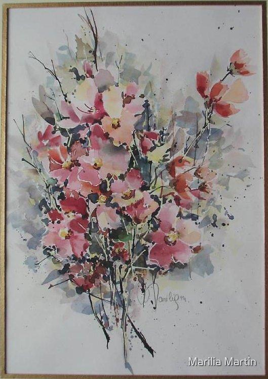 Floral in watercolor by Marilia Martin