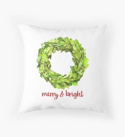 Christmas Boxwood Wreath Merry & Bright Throw Pillow