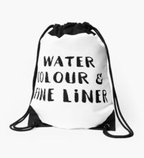 Watercolour and Fine Liner Drawstring Bag