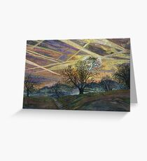 Sky Trails - Dawn Landscape Embroidery - Textile Art Greeting Card