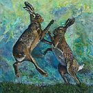 Boxing Hares Embroidery - Textile Art by Rachel Wright