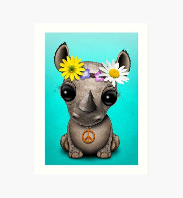 Cute Baby Rhino Hippie by jeff bartels