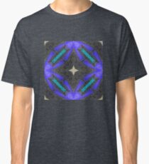 Black, Blue, Teal and Yellow Vintage Influenced, 3D Photographed Fiber Art in Leather and Suede Classic T-Shirt