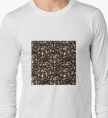White brown watercolor strokes on a black background Long Sleeve T-Shirt