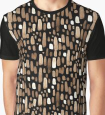 White brown watercolor strokes on a black background Graphic T-Shirt