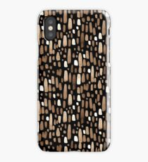 White brown watercolor strokes on a black background iPhone Case