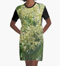 Flowers And Bees Graphic T-Shirt Dress