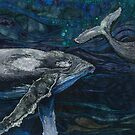 The Deep - Humpback Whales Embroidery - Textile Art by Rachel Wright
