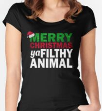 MERRY CHRISTMAS  YA FILTHY ANIMAL T-SHIRT Women's Fitted Scoop T-Shirt