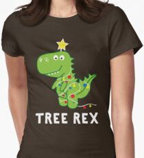 Funny Christmas Dinosaur Tree Rex Women's Fitted T-Shirt
