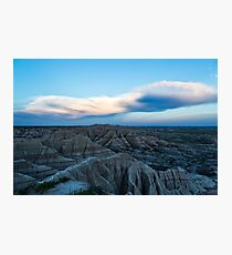 Distant storm clouds at sunset Photographic Print