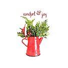 Comfort & Joy Christmas Red Enamelware Pitcher by Ann Drake
