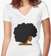 Big Curly Afro Natural Hair Black Woman Fitted V-Neck T-Shirt