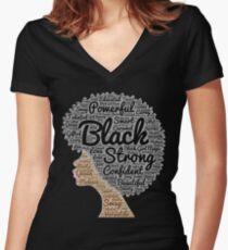 Natürliche Haar-Wörter der schwarzen Frau in Afro Tailliertes T-Shirt mit V-Ausschnitt