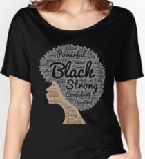 Black Woman Natural Hair Words In Afro Women's Relaxed Fit T-Shirt