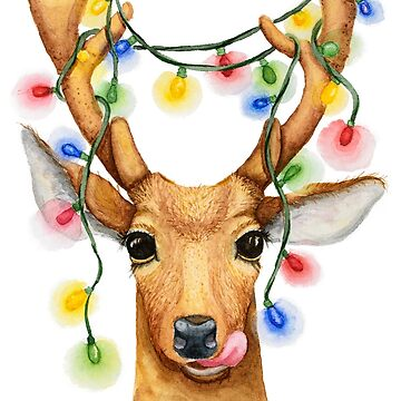 Christmas deer with a garland by OllegNik