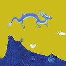 Blue Dragon and Mountain by SusanSanford