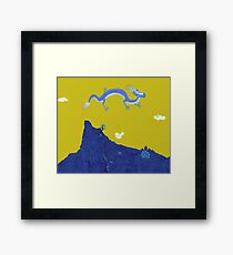 Blue Dragon and Mountain Framed Print