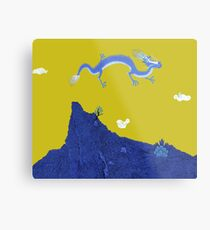 Blue Dragon and Mountain Metal Print