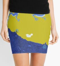 Blue Dragon and Mountain Mini Skirt