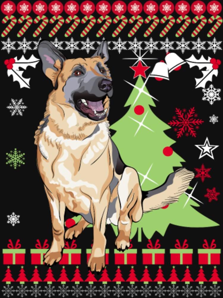 German Shepherd Christmas Sweater.Merry German Shepherd Ugly Christmas Sweater Funny Tshirt Women S Fitted Scoop T Shirt
