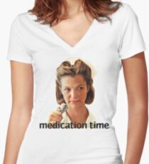 Medication Time Women's Fitted V-Neck T-Shirt