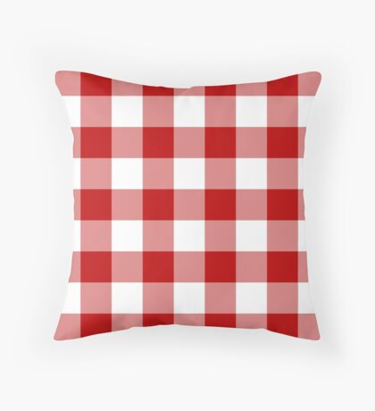Red and White Buffalo Plaid Check Throw Pillow