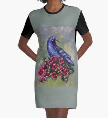 Bird with Flowers II Graphic T-Shirt Dress