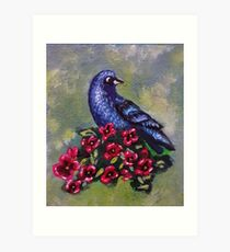 Bird with Flowers II Art Print