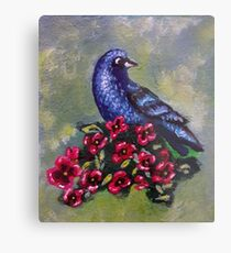 Bird with Flowers II Metal Print