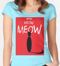MEOW MEOW MEOW on red Women's Fitted Scoop T-Shirt