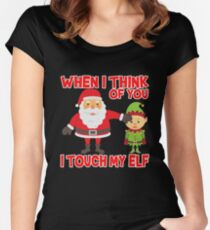 Touch my elf Christmas Fun and Naughty Women's Fitted Scoop T-Shirt