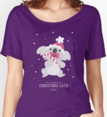 Christmas Koala Eating A Candy Cane Women's Relaxed Fit T-Shirt