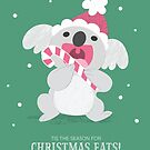 Christmas Koala Eating A Candy Cane by KristyKate