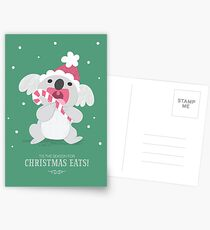 Christmas Koala Eating A Candy Cane Postcards