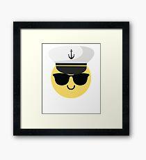 Captain Sailor Emoji   Framed Print